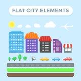 Flache Stadt-Elemente Lizenzfreie Stockfotografie