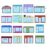 Flache Stadt-Shop-und Speicher-Gebäude-Ikonen lizenzfreie stockfotos