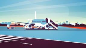 Flache Startaufwartung des Flughafenabfertigungsgebäudeflugzeugfliegens, zum des Passagierstadtbildhintergrundes zu besteigen fla lizenzfreie abbildung
