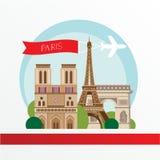 Flache stilvolle Vektorillustration für Paris, Frankreich Reisen- und Tourismuskonzept Stockfotos
