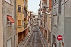 Flache Straße in Calella morgens Lizenzfreies Stockfoto