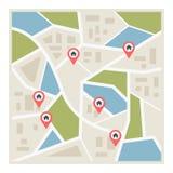 Flache Straßenkarte mit Zeigern Stockbild