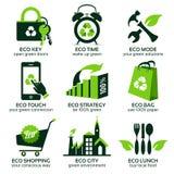 Flache Symbole Eco, die grünen Lebensstil in der Welt fördern Stock Abbildung