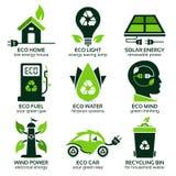 Flache Symbole Eco, die grünen Lebensstil im Haushalt fördern Lizenzfreie Abbildung