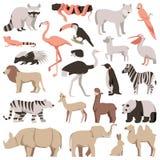 Flache Tiere des Zoos eingestellt Tropische und exotische wilde Sammlung lizenzfreies stockbild