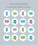 Flache ui Ausrüstungsikonen des Mobiles, Tablette, Desktop, Notizbuch Lizenzfreie Stockbilder