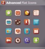 Flache UI Ikonen des Vektors Stockbild
