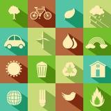 Flache Umwelt-Ikone Stockfotos