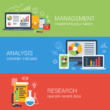 Flache Unternehmensanalyseanalytik-Managementforschung infographic Stockfotografie