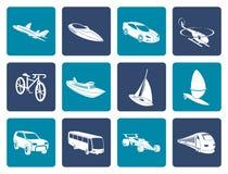 Flache unterschiedliche Art von Transport- und Reiseikonen Stockfotografie