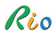 Flache Vektor-Illustration Brasiliens Rio de Janeiro Lettering Isolated auf weißem Hintergrund Orange, grüne, blaue Farben Stockfotografie