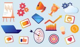 Flache Vektor-Illustration eingestellt von den verschiedenen Einzelteilen lizenzfreie abbildung