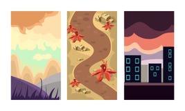 Flache Vektor setof 3 vertikale Hintergründe für bewegliches on-line-Spiel Szenen mit Berglandschaft, schmutzigem Weg und Stadt lizenzfreie abbildung