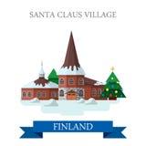 Flache Vektoranziehungskraft Santa Claus Village Residence Finlands Lizenzfreie Stockbilder
