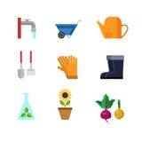 Flache Vektorgartenarbeitwerkzeug-Netz-APP-Ikone: Gummistiefelsonnenblume Lizenzfreie Stockbilder