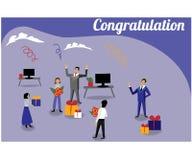 Flache Vektorgeschäftsillustration, Glückwunsch auf der Arbeit, der Tag der Frauen, Geburtstag Konzept für Landungsseite, Schablo lizenzfreie abbildung