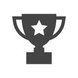 Flache Vektorikone der Trophäenschale Einfaches Siegersymbol Schwarzes illustr lizenzfreie abbildung