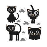 Flache Vektorikone eines Sitzens und des Schauens der schwarzen Katze lizenzfreie abbildung