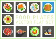 Flache Vektorikonen der Hauptgerichte Stockbilder