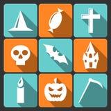 Flache Vektorikonen Halloweens mit langem Schatten. Satz Lizenzfreies Stockfoto