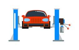 Flache Vektorillustration der Autoreparaturservice-Diagnostikkarikatur Stockfoto