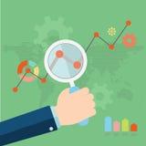 Flache Vektorillustration der Netzanalytik Lizenzfreie Stockfotografie