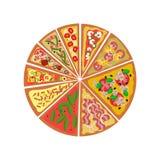 Flache Vektorillustration der Pizza Stockfotografie