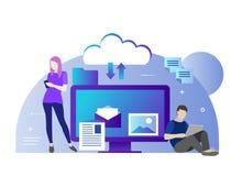 Flache Vektorillustration der Wolke für alle Geräte Alle in Ihrem Gerät oder im Wolkenspeicher Gebrauchswolke der jungen Leute Stockfotos