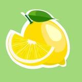 Flache Vektorillustration der Zitronenscheibe Lizenzfreie Stockfotos