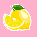 Flache Vektorillustration der Zitronenscheibe Stockfotografie