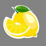 Flache Vektorillustration der Zitronenscheibe Lizenzfreie Stockbilder