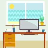 Flache Vektorillustration des Arbeitsplatzes Stockbilder