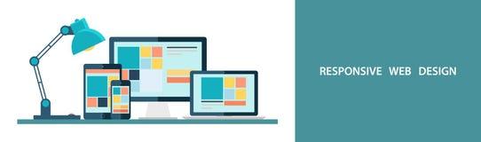 Flache Vektorillustration des entgegenkommenden Webdesigns, wie auf Tischplattenmonitor, Laptop, Tablette und Smartphone gesehen Stockfoto