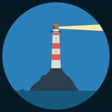 Flache Vektorillustration des Leuchtturmes Lizenzfreie Stockfotos
