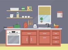 Flache Vektorillustration des modernen Kücheninnenraums Stockfotos