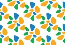 Flache Vektorillustration des nahtlosen Musters Blaue, orange, grüne Farben Lizenzfreies Stockbild