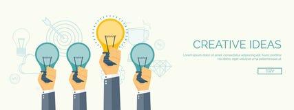 Flache Vektorillustration Seien Sie ein Führer Erzeugende Ideen Kreativität und Teamwork lizenzfreie abbildung