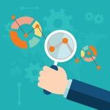 Flache Vektorillustration von Netzanalytikinformationen und von Entwicklungswebsitestatistik Lizenzfreie Stockbilder