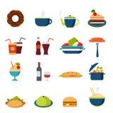 Flache Vektorlebensmittelikonen: Menü, Getränk, Restaurant, Burger, Bäckerei Lizenzfreie Stockfotografie