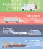 Flache Vektornetzfahne logistik Teil 1 Stockbilder