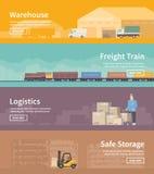 Flache Vektornetzfahne logistik Teil 2 Lizenzfreies Stockbild