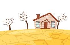 Flache Vektorszene der Dürre Kleines lebendes Haus, trockene Bäume und gebrochene Erde Ökologische Katastrophe trockenes Klima be lizenzfreie abbildung