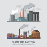 Flache Vektorverschmutzungsschwerindustrie, Anlage, Fabrikproduktion Stockfotografie