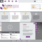 Flache Webdesignelemente. Schablonen für Website. Stockfoto