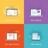 Flache Webdesignikonen für Internet-Marketing conce Stockbilder