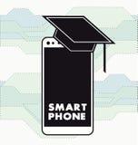 Flache weiße intelligente Smartphone Ikonen-Vektorillustration Lizenzfreie Stockfotos