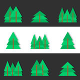 Flache Weihnachtsbäume Stockbild