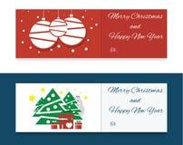 Flache Weihnachtsfahnen Lizenzfreie Stockfotos