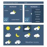 Flache Wettervorhersage-APP Lizenzfreies Stockbild