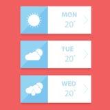 Flache Wettervorhersage-APP-Designschablone Lizenzfreie Stockfotos